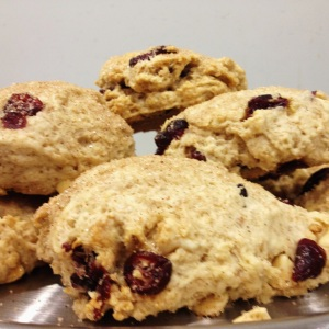 Organic cranberry and white chocolate scones, made from scratch!