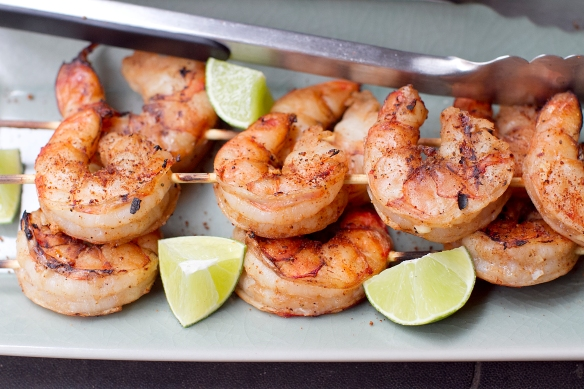 Grilled Shrimp Skewers with Frontier Co-op Organic Blackened Seafood Seasoning