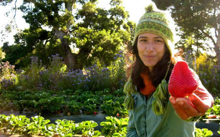 Evelyn Rosas shows off the fruits of her labor in the CASFS program.