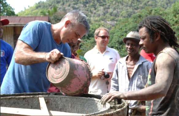Frontier Co-op CEO Tony Bedard lends a hand building wells in Madagascar villages.